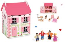 Set dřevěný domeček pro panenky Mademoiselle Janod s nábytkem a rodina s dětmi
