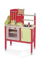 Fa játékkonyha Buscuit Janod 6 kiegészítővel 3-8 éves korosztálynak piros-zöld