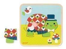 Drevené puzzle pre najmenších Rodinka korytnačiek Janod 3-vrstvové od 2 rokov 9 dielov