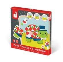 Puzzle pre najmenších - Drevené puzzle pre najmenších Rodinka korytnačiek Janod 3-vrstvové 9 dielov od 24 mes_8