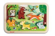 Puzzle pre najmenších - Drevené puzzle pre najmenších Lesné zvieratá Chunky Janod 7 dielov od 18 mes_1