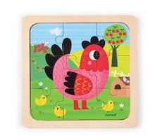 Puzzle pre najmenších - Drevené puzzle pre najmenších Violette Chicken Janod 9 dielov od 18 mes_0