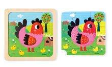 Puzzle pre najmenších - Drevené puzzle pre najmenších Violette Chicken Janod 9 dielov od 18 mes_1