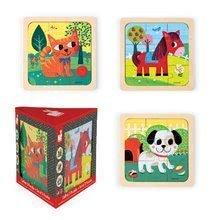 Drevené puzzle pre najmenších Set 3 Puzzles Janod od 18 mesiacov 3x9 dielov