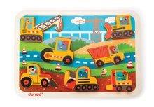 Puzzle pre najmenších - Drevené puzzle pre najmenších Stavebné autá Chunky Janod 7 dielov od 18 mes_1