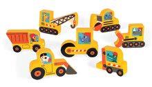 Puzzle pre najmenších - Drevené puzzle pre najmenších Stavebné autá Chunky Janod 7 dielov od 18 mes_2