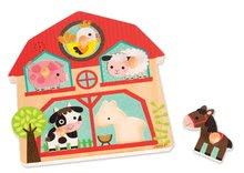 Drevené puzzle pre najmenších Zvieratká z farmy Janod hudobné od 18 mesiacov 5 dielov