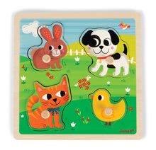 Puzzle pre najmenších - Drevené puzzle pre najmenších Domáce zvieratká Tactile Janod s textúrou 4 diely od 12 mes_0