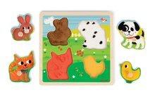 Puzzle pre najmenších - Drevené puzzle pre najmenších Domáce zvieratká Tactile Janod s textúrou 4 diely od 12 mes_1