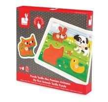 Puzzle pre najmenších - Drevené puzzle pre najmenších Domáce zvieratká Tactile Janod s textúrou 4 diely od 12 mes_2