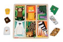 Puzzle pre najmenších - Drevené puzzle pre najmenších Zvieratká z džungle Tactile Janod s textúrou 6 dielov od 12 mes_0