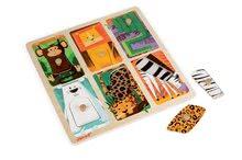Puzzle pre najmenších - Drevené puzzle pre najmenších Zvieratká z džungle Tactile Janod s textúrou 6 dielov od 12 mes_2