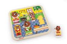 Puzzle pre najmenších - Drevené puzzle pre najmenších Medvede v kuchyni Chunky Janod 5 dielov od 18 mes_0