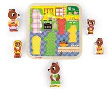 Puzzle pre najmenších - Drevené puzzle pre najmenších Medvede v kuchyni Chunky Janod 5 dielov od 18 mes_1
