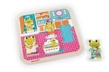 Puzzle pre najmenších - Drevené puzzle pre najmenších Žabky v kúpeľni Janod 5 dielov od 18 mes_0