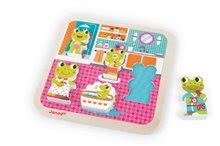 Puzzle pre najmenších - Drevené puzzle pre najmenších Žabky v kúpeľni Janod 5 dielov od 18 mes_3