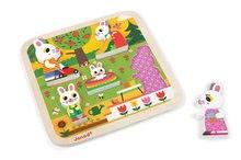 Puzzle pre najmenších - Drevené puzzle pre najmenších Zajace na záhrade Chunky Janod 5 dielov od 18 mes_0