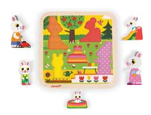Puzzle pre najmenších - Drevené puzzle pre najmenších Zajace na záhrade Chunky Janod 5 dielov od 18 mes_1