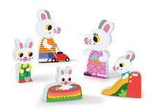 Puzzle pre najmenších - Drevené puzzle pre najmenších Zajace na záhrade Chunky Janod 5 dielov od 18 mes_2