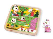 Puzzle pre najmenších - Drevené puzzle pre najmenších Zajace na záhrade Chunky Janod 5 dielov od 18 mes_3