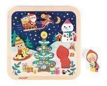 Drevené puzzle Čarovné Vianoce Chunky Janod s 5 vkladacími figúrkami od 18 mesiacov