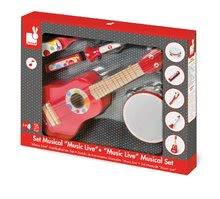 Detské hudobné nástroje - Sada 5 drevených hudobných nástrojov Confetti Music Live Janod gitara, harmonika, trúbka, tamburína a kastanety od 3 rokov_1
