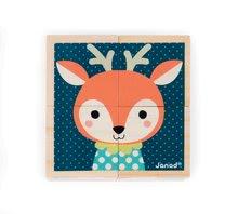 Rozprávkové kocky - Drevené kocky Lesné zvieratká Baby Forest Janod rozprávkové 4 ks od 12 mes_6