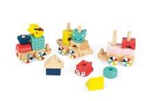 Drevený detský vláčik Baby Forest Train Janod so zvieratkami a kockami od 12-36 mesiacov