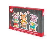 Puzzle pre najmenších - Drevené magnetické figúrky Farma Funny Magnets Janod 3 ks od 18 mes_2
