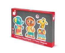 Puzzle pre najmenších - Drevené magnetické figúrky Zoo Funny Magnets Janod 3 ks od 18 mes_3