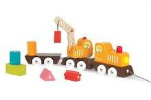 Nákladné autá - Drevený magnetický vlak Multi Crane Train Janod na ťahanie so žeriavom od 24 mes_0