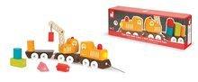 Nákladné autá - Drevený magnetický vlak Multi Crane Train Janod na ťahanie so žeriavom od 24 mes_1