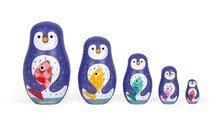 Drevené matriošky Rodina tučniakov Zigolos Janod 5 kusov od 3-7 rokov