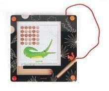 Drevená magnetická hra Abeceda so zvieratkami Janod tabuľa a 26 podložiek v angličtine a francúzštine od 4 rokov