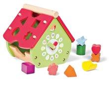 Drevený didaktický domček Janod záhradný s hodinkami a kockami od 18 mes
