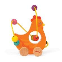 Ťahacie hračky - Drevená sliepočka Janod na ťahanie s labyrintom od 12 mes_0