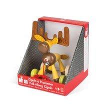 Ťahacie hračky - Drevený Sob Zigolos Janod na kolieskach so zvončekom od 12 mes_2