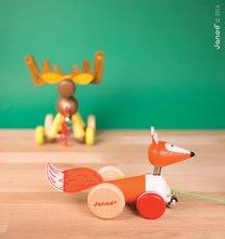 Ťahacie hračky - Drevený Sob Zigolos Janod na kolieskach so zvončekom od 12 mes_4