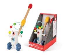 Ťahacie hračky - Drevený Medveď Zigolos Janod na tlačenie s labyrintom a zvončekom od 12 mes_1