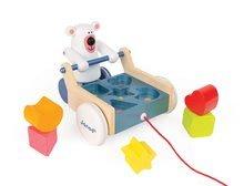 Ťahacie hračky - Drevený ťahací vozík Medveď Janod s vkladacími kockami od 12 mes_0