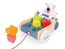 Ťahacie hračky - Drevený ťahací vozík Medveď Janod s vkladacími kockami od 12 mes_1
