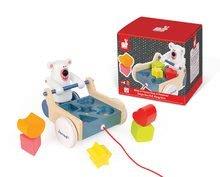 Ťahacie hračky - Drevený ťahací vozík Medveď Janod s vkladacími kockami od 12 mes_2