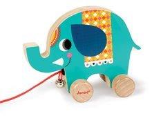 Dřevěný slon Janod zvířátko z cirkusu na tahání se zvonkem od 12-36 měsíců