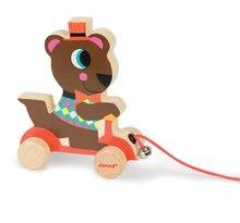 Ťahacie hračky - Drevený medveď Janod zvieratko z cirkusu na ťahanie so zvončekom od 12 mes_0