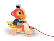 Ťahacie hračky - Drevená opička Janod zvieratko z cirkusu na ťahanie so zvončekom od 12 mes_0