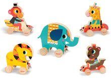 Ťahacie hračky - Drevený medveď Janod zvieratko z cirkusu na ťahanie so zvončekom od 12 mes_1