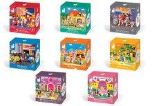 Dřevěné pohádkové figurky Mini Story Janod 8 setů 7-12 dílků od 3-6 let
