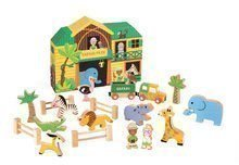 Drevená stavebnica Safari Story Set Box Janod so zvieratkami 19 dielov