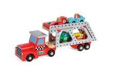 Fa szállító kamion Story Set Janod 4 versenyautóval 2 éves kortól