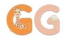 Dřevěné písmeno G Sophie The Giraffe Janod lepící 7 cm oranžové/růžové